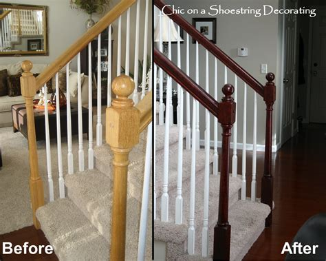 How To Refinish A Wood Banister by On A Shoestring Decorating How To Stain Stair Railings