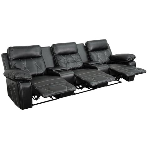 3 seat recliner home theater flash furniture reel comfort series 3 seat reclining black