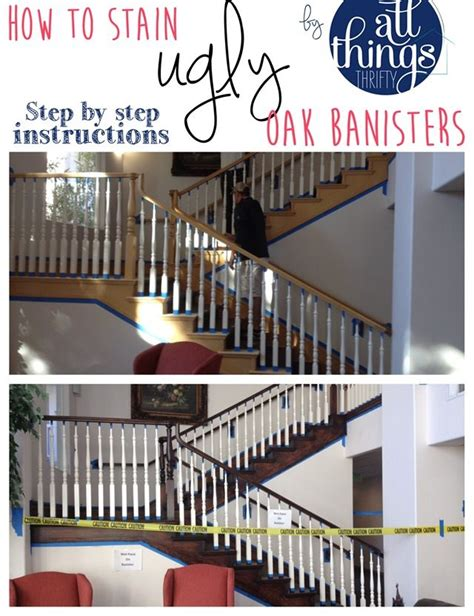 how to restain stair banister how to stain an ugly oak banister dark