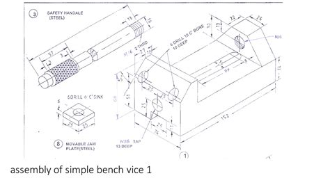 bench vice assembly free hand drawing and assembly of simple bench vice iti