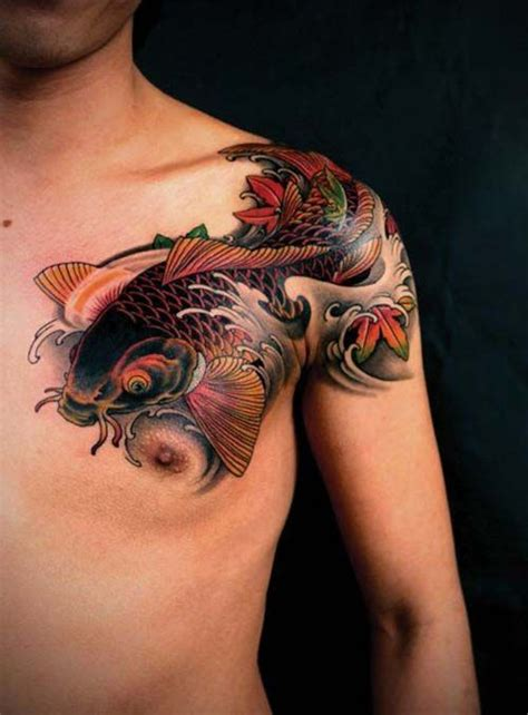 koi fish chest tattoo shoulder and chest koi fish tattoos koi balığı d 246 vmeleri