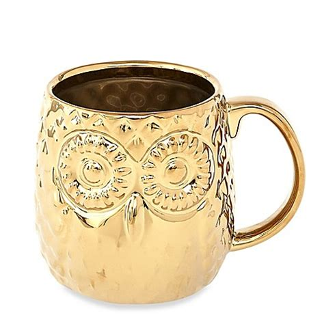 gold coffee mug home essentials beyond embossed owl gold coffee mug