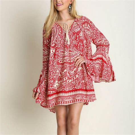 Boho Blouse Tunic Mariana details about umgee boho paisley bell sleeve tassel tie trapeze swing dress or tunic top s l