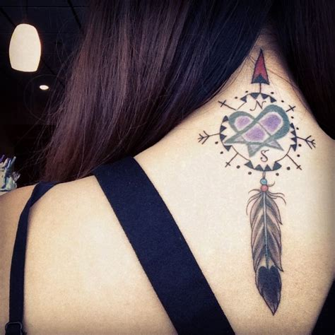 Dreamcatcher Compass Tattoo Neck | dream catcher neck tat best tattoo design ideas