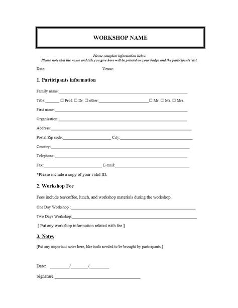 Registration Forms Template Free event registration form template word journalingsage