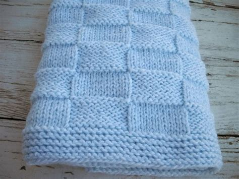 knitted basket weave afghan pattern blue knit blanket knit basketweave by babyblanketsandetc