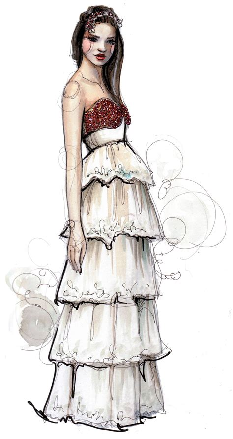 fashion illustration dress a watercolor creation by rodgers of paperfashion design wedding