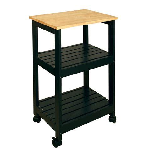 catskill craftsmen black kitchen cart with shelf 81516