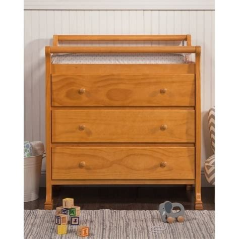 Changing Table Oak Davinci Kalani Pine Wood 3 Drawer Changing Table In Honey Oak M5555o