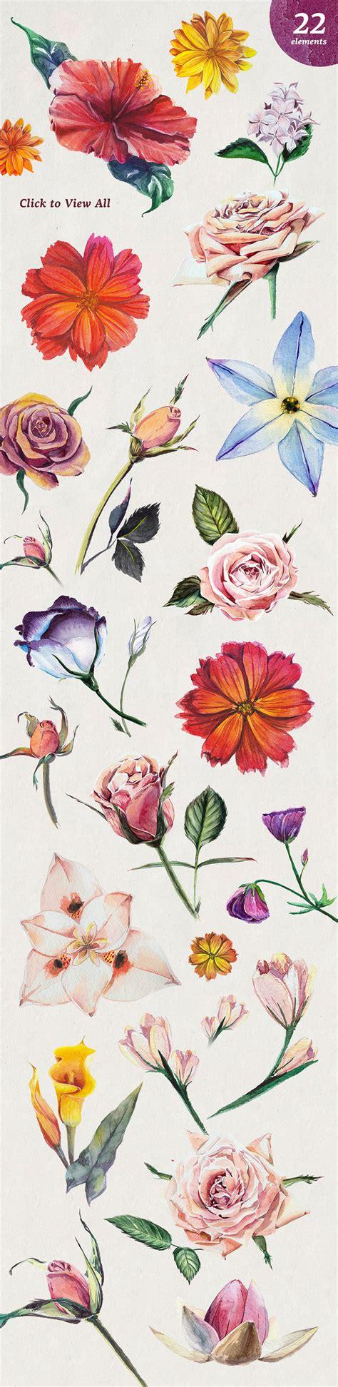 Florist Set by Florist Watercolour Flowers Set Design Cuts Design Cuts