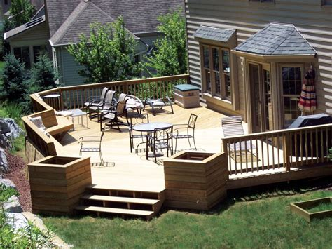 Striking Front Porch Deck Design Ideas Using White Wooden Patio Deck Designs