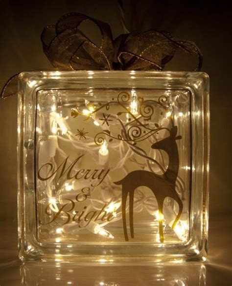 dasher christmas glass block night light