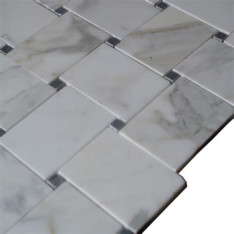 1 X3 Gray Ceramic Tile by Italian Calacatta Gold Marble Large Basketweave Pattern