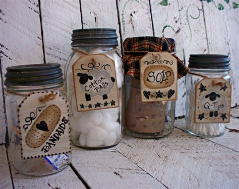 rustic bathroom jar tags primitive bath decor by