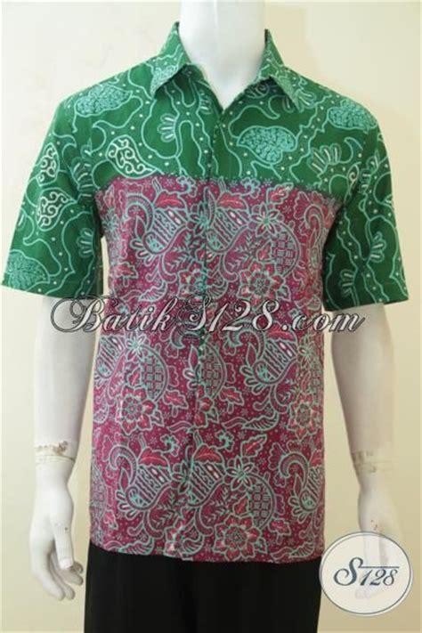 Baju Batik Lelaki Merah hem batik dual motif baju batik merah kombinasi hijau proses cap tulis busana batik keren