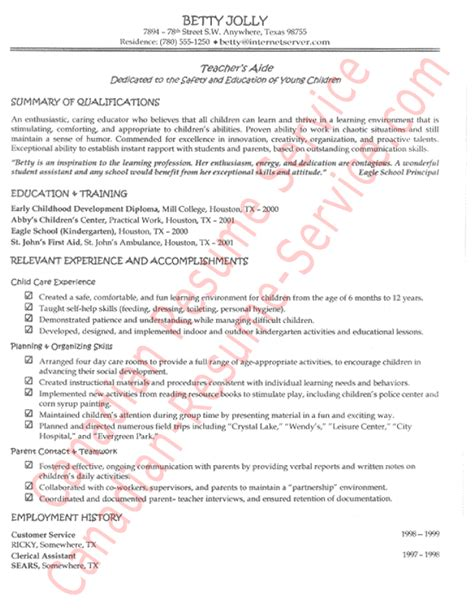 Resume Cover Letter Sles For Teachers Aide Functional S Aide Resume Exle Sle