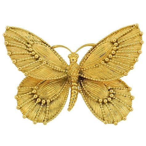 Butterfly Gold cleef and arpels yellow gold butterfly pin at 1stdibs