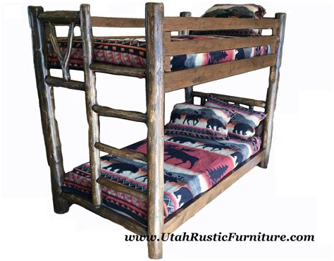 Log Bunk Beds With Trundle Bradley S Furniture Etc Rustic Log And Barnwood Bunk Beds