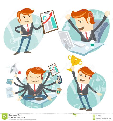office set showing a graph happy worker at