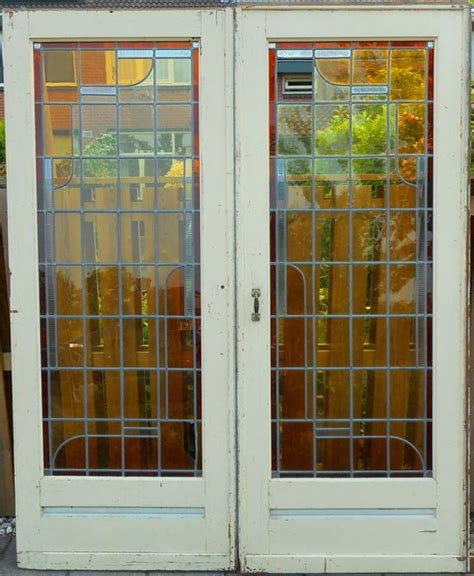 Art Deco Sliding Door With Stained Glass Catawiki Stained Glass Sliding Doors