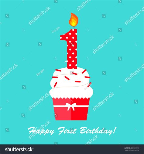 happy birthday flat design happy first birthday anniversary card cupcake stock vector