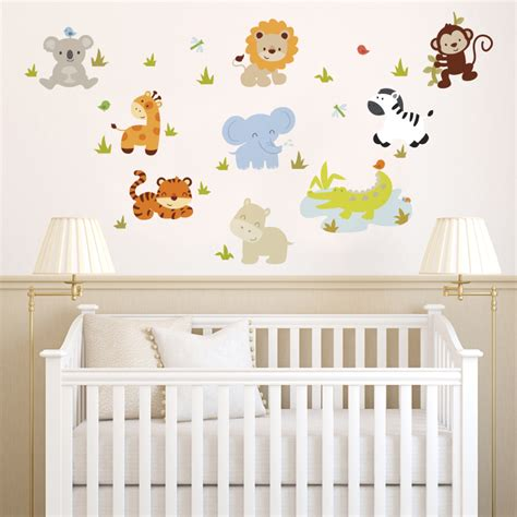 Baby Zoo Animals Printed Wall Decals Stickers Graphics Decals For Nursery Walls