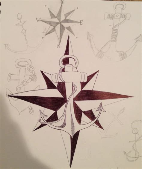 compass and anchor tattoo anchors and compass sketches ideas
