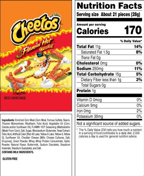 does flamin hot funyuns have pork cheetos 174 crunchy flamin hot 174 cheese flavored snacks