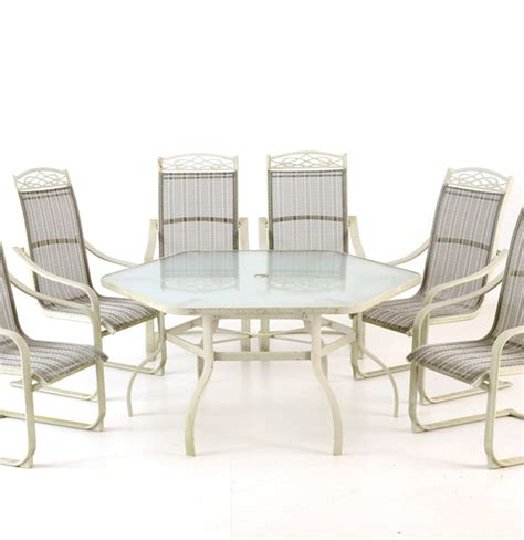 Glass Top Patio Table With Umbrella And Six Chairs Ebth Patio Umbrella Table And Chairs