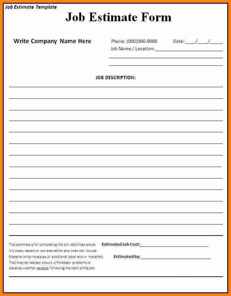 work estimate template free printable roofing estimate forms studio design