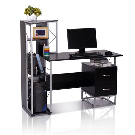Shelf Computer Desk Homcom Computer Desk Workstation Laptop W Shelf Drawer Wood Bookshelf Black Ebay