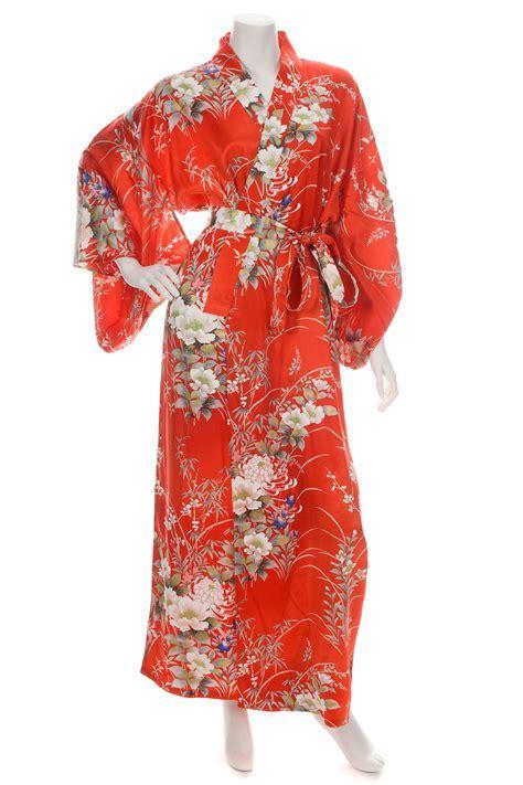 Japanese Silk Kimono Floral Print Long Red XL