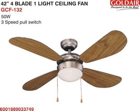 4 inch ceiling fan light covers goldair 4 blade 1 light ceiling fan 42 inch gcf 132