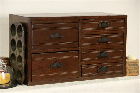sold oak  antique desktop file collector  jewelry