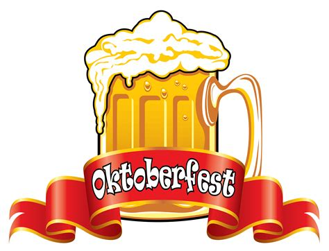 beer cartoon transparent oktoberfest red banner with beer png clipart image