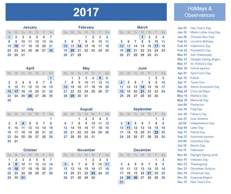 Printable Yearly Calendar 2017 With Holidays Free Printable Calendar Templates 2017 Printable