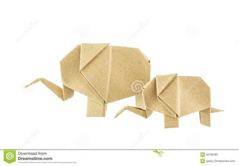 Baby Origami - origami elephant and baby elephant recycle paper stock