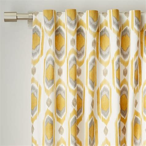 west elm drapes cotton canvas ikat gem curtain horseradish west elm