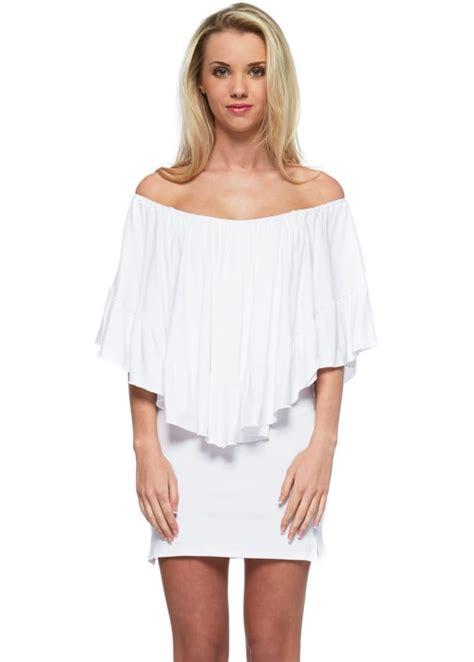 Minidress Cape pink the shoulder white cape mini dress