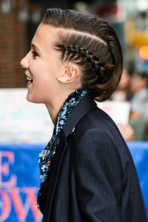 long hair style showing ears millie bobby brown s side braid at the late show with