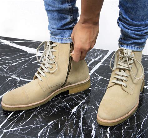 beige combat boots beige suede combat boots from oro mensfash