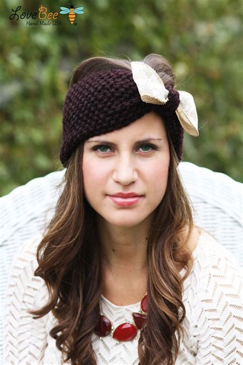 knit crochet turban headband button headbands 1000 images about headbands with bows on