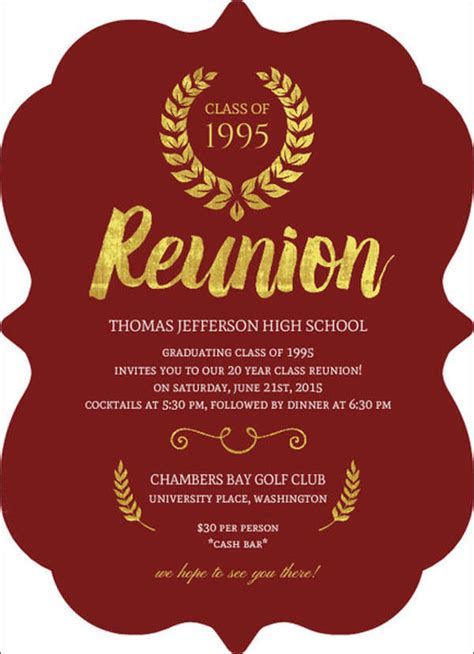 Reunion Invitation Card Templates by 16 Reunion Invitation Templates Free Premium Design