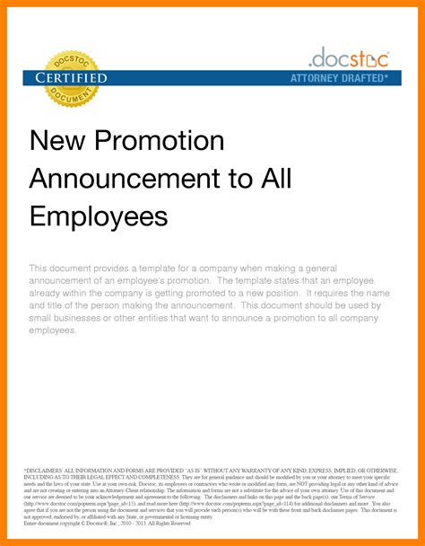 Promotion Announcement Email by Organizational Announcement Sles Portablegasgrillweber