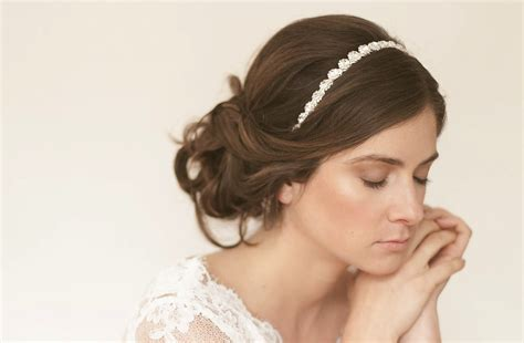 Wedding Hairstyles Updo With Headband by Simple Wedding Updo With Rhinestone Headband Onewed