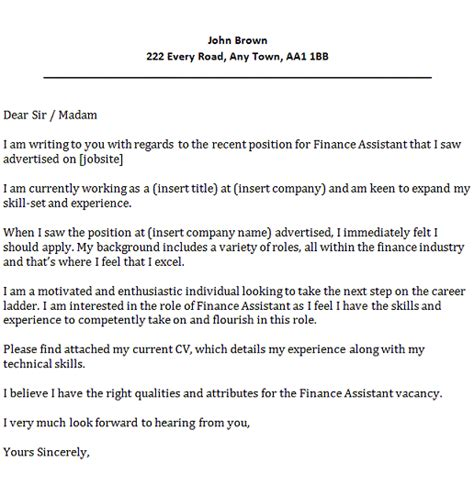 Finance Master Motivation Letter Finance Assistant Cover Letter Exle Icover Org Uk