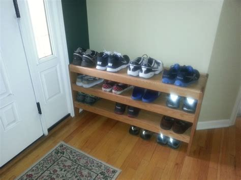 shoe rack for front door oak shoe rack kreg owners community