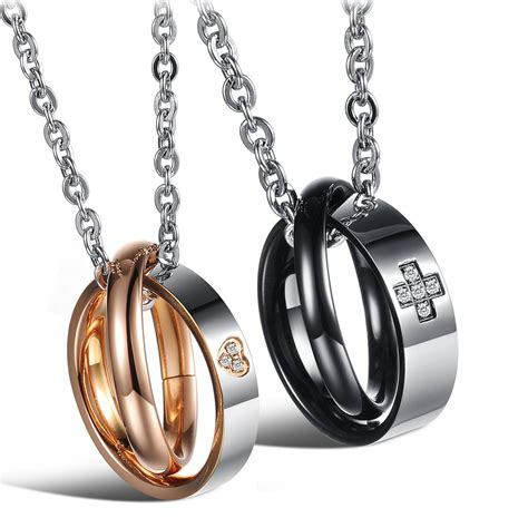 his hers stainless steel matching necklaces pendants for