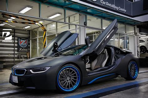 modified bmw i8 thai bmw i8 gets custom blue adv 1 wheels gtspirit