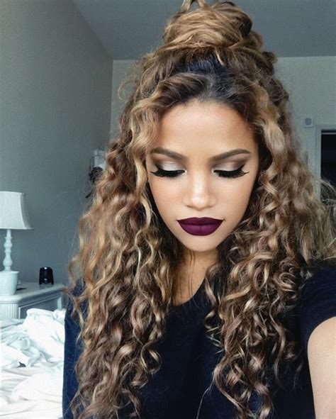 hairstyles that make curls curly half buns hergivenhair